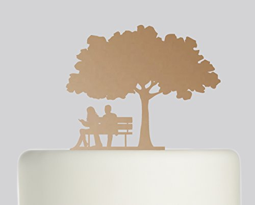 Bride And Groom Couple on Bench under Oak Tree wedding cake topper Acrylic Cake Topper - Bronze Mirror Acrylic