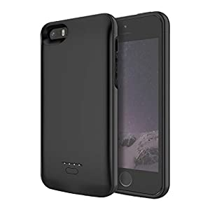 Kerter Battery Case For Iphone 5s Se 5 4000mah Rechargeable Extended Charger Case Portable Protective Charging Case Ultra Slim Backup Power Bank Case For Iphone Se5s5 Black