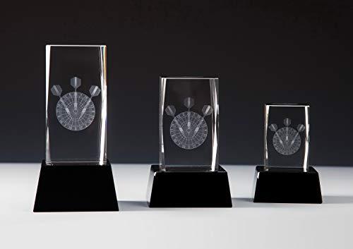 Henecka Dart-Pokal, Glastrophäe 3D-Lasermotiv Darts, Kristallglas, schwarzer Glassockel, mit Wunschgravur, Größe 14 cm