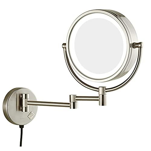 Espejos De Maquillaje De 8.5 Pulgadas Con Aumento Iluminado, Modo De Espejo De Maquillaje Iluminado Con Aumento De 1X / 10X, Carga De Pantalla Táctil Por USB Extensible Para Hoteles De Baño
