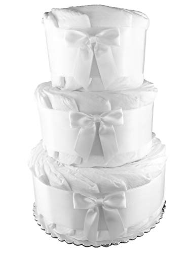 Plain Do it Yourself 3-Tier Diaper Cake - Baby Shower Centerpiece - White