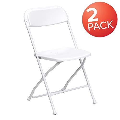 Flash Furniture HERCULES Series White Plastic Folding Chairs   Set of 2 Lightweight Folding Chairs