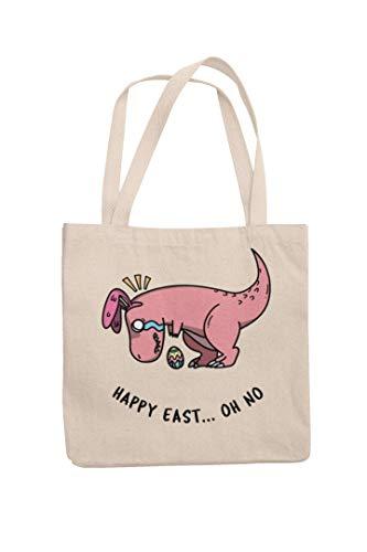 Happy Easter Jute-Schultertasche mit Dinosaurier-Motiv, für Kinder, Schokoladeneiersuche, Geschenk, lustiger Witz, Tee, Kaffeetasse, Ostergeschenk, ideal für Kinder
