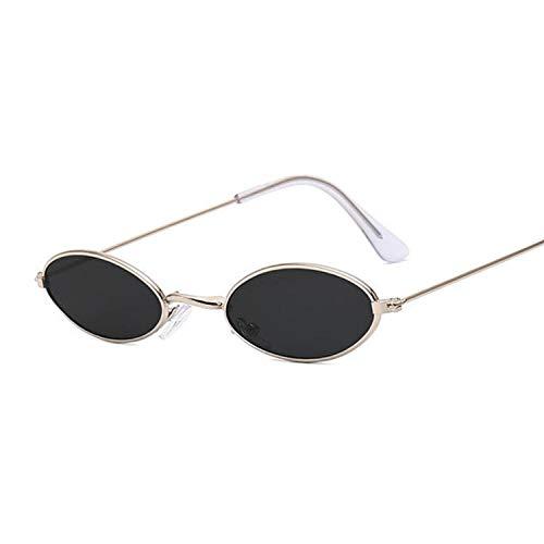 DLSM Gafas de Sol Negras pequeñas Retro de Mujeres pequeñas para Mujer de aleación de Damas Apto para Pesca y Golf-Gris-Plata