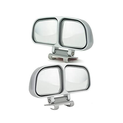 JMAHM 2 Stück Toter Winkel Spiegel Zusatzspiegel für Auto kann verstellbar oder fixiert montiert werden (links und rechts)., silber