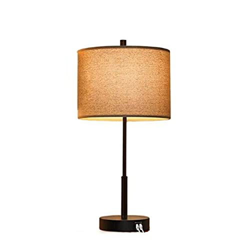 Luz Nocturna, Lámparas De Mesa Altas con Control Táctil con 2 Puertos USB, Lámparas De Mesita De Noche Modernas Regulables con Pantallas De Tela Beige