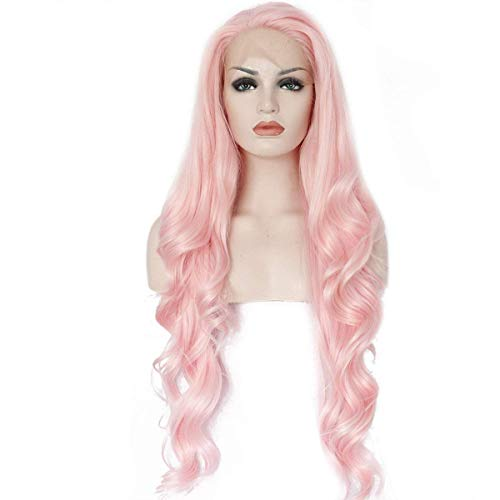 Ebingoo Natural Long Wave Pink Synthetic Front Lace Wig For White Women 26 inch