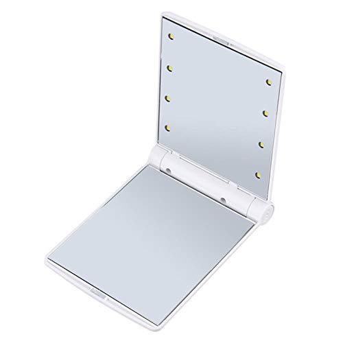 LASISZ Pliable Miroir LED Portable Poche Compacte 8 Lumières LED Composent Miroir Illuminé Cosmétique Outils de Beauté de Table, Blanc