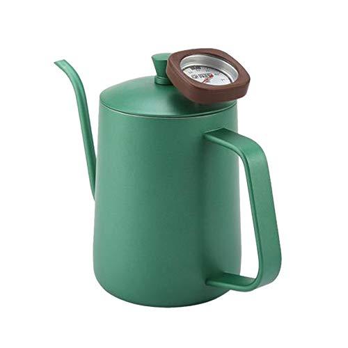 SODIAL ThéIèRe de Bec de Col de Cygne de Bouilloire de Café d'acier Inoxydable de 600 ML avec Le ThermomèTre (Vert)