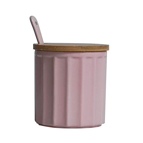 Zuccheriera in ceramica con coperchio in bambù e cucchiaino, design elegante, per casa e cucina, bianca, 270 ml rosa