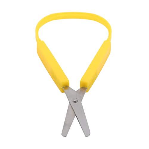 ZYYXB Tijeras de bucle para niños, fácil agarre, fácil apertura, adaptadas para necesidades especiales, seguridad punta redonda, asas abiertas, color amarillo