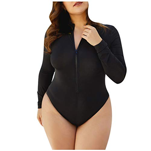 GFGHH SHIZUANYUE Damen Einteiliger Badeanzug O-Ausschnitt Einfarbiger Reißverschluss Bikini Beachwear Badebekleidung