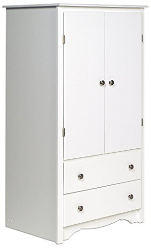 Lowest Price! Prepac White Monterey 2 Door Armoire