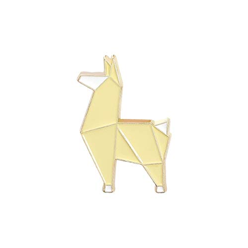 Origami Animal esmalte Pin Fox Panda Koala Alpaca Rabbit Broche Bolsa Ropa Pin de solapa Insignia Dibujos animados-Alpaca