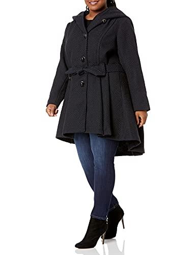 Steve Madden Women's Plus-Size Single Breasted Wool Coat, Navy, 3X