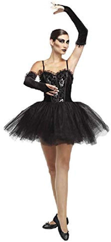 Ladies Black Sexy Gothic Halloween Black Ballerina Tutu Fancy Dress Costume Outfit
