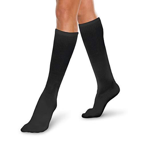 Core-Spun 10-15mmHg Medical Light Graduated Knee High Compression Socks (Black, 2X-Large Regular)