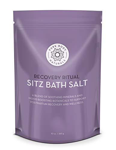 Sitz Bath Salt – Postpartum Care and Hemorrhoid Treatment – Natural Sitz Bath Soak with Epsom Salt, Dead Sea Salt, Essential Oil for Self Care and Hemmoroid Treatment, 10 ounces by Pure Body Naturals