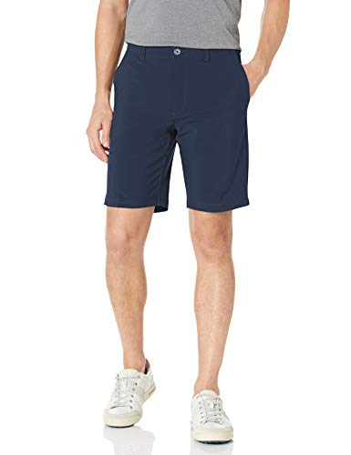 Jack Nicklaus Men's Flat Front Solid Active Flex Short with Media Pocket, Classic Navy
