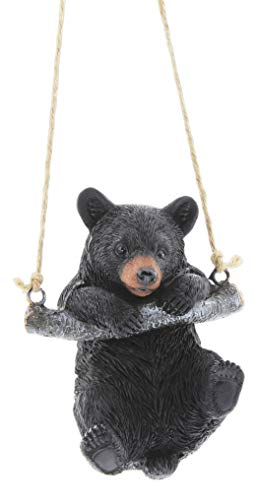 Playful Resin Black Bear on a Rope Hanging Figurine (Swinging)