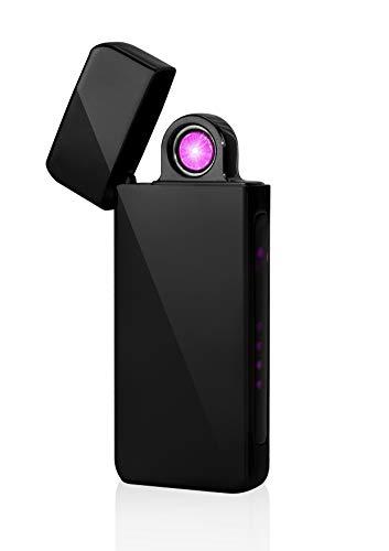TESLA Lighter T16 Turbo Lichtbogen-Feuerzeug, elektronisches USB Feuerzeug, Double-Arc Lighter, wiederaufladbar Schwarz