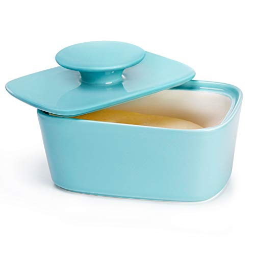 Sweese 321.102 Large Butter Dish with Lid, Porcelain Butter Keeper Container - Perfect for East Coast, West Coast Butter and Kerrygold Butter - Turquoise