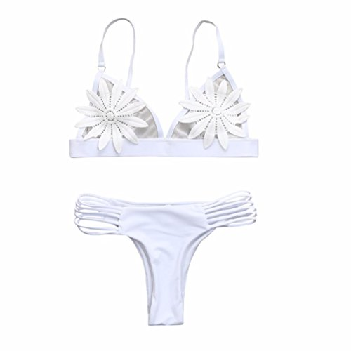 VJGOAL Damen Bikini Set, Frau Mädchen Hübsche Mode Pailletten Deko Bademode Bikini Set Push Up Sommer Badeanzug Geschenke (M, C-weiß)