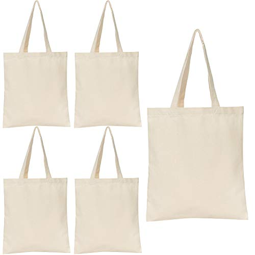 Jillmo Blank Canvas Tote Bags, 12oz Plain Tote Bags to Decorate (5 Pack)