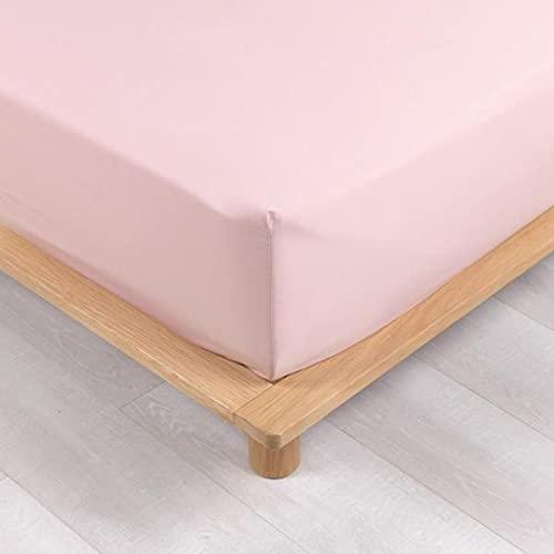 Sábana bajera de percal, color rosa, 160 x 200 cm, 100 % algodón mercerizado, 78 hilos, gorro de 30 cm, Premium