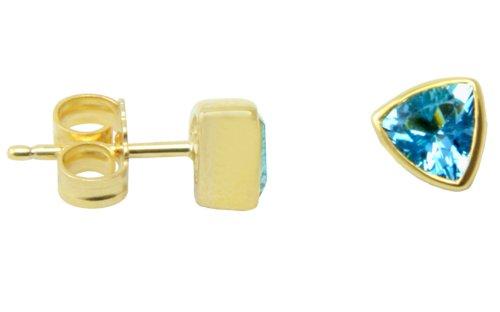 Gioielli disegno SKIELKA unico Aqua marint orecchini oro realizzazione di lavoro (oro giallo 585)–Orecchini con Acquamarina 1,0carati–acquamarina orecchini con esperienza