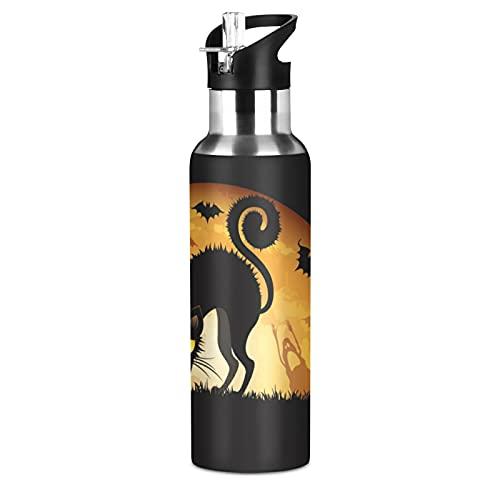 JUMBEAR Botella de agua de Halloween con aislamiento acuum de acero inoxidable a prueba de fugas con tapa de pajita para gimnasio y deportes al aire libre, 22 onzas