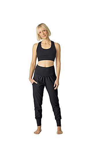 Lotuscrafts Pantalón Largo de Yoga para Mujer, algodón biológico (Negro, M)