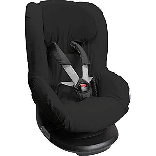 Original Dooky Uni Black Sitzbezug für Kindersitz universale Passform für viele gängige Modelle Altersgruppe 1+ 9 - 18kg für 3 und 5 Punkt Gurtsystem, schwarz