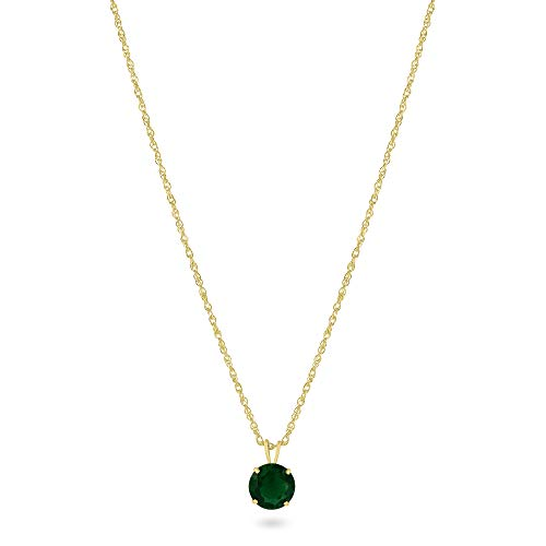 Femme Luxe Simulated Birthstone Pendant for Women, All Birthstone, 14K Yellow Gold, 18' Gold Filled Chain, 7mm Round Gemstone, Hypoallergenic, Gift Ready Packaging (Emerald)