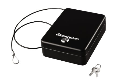 SentrySafe P005K Safes Portable Lock Box with Key, 0.05 Cubic feet, Black