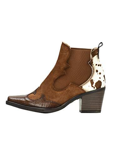 Hispanitas Damen Colorado Cowboy knöchel Stiefel mit einem Karree hergestellt in Einer Kombination von Materialien für Frauen (Leder, 36)