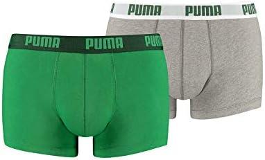 Puma Basic Trunk 2P, Boxer hombre (Pack de 2), Multicolor (Amazon Green/Grey), L