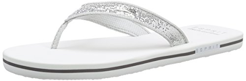 ESPRIT Damen Glitter Thongs Zehentrenner, Weiß (100 White), 38 EU
