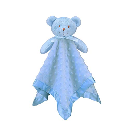 Pro Goleem Teddy Bear Lovey Baby Security Blanket Unisex Soft Blue Lovie Gift for Newborn Toddler 16 Inch