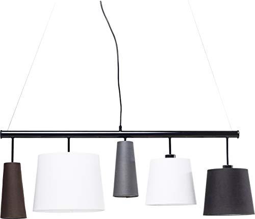 Kare Design Hängeleuchte Parecchi Black 100, moderne Stofflampenschirme (Schwarz, Weiß, Grau, Braun) Pendelleuchte für Esstisch, Design Wohnzimmerlampe (H/B/T) 160x107x30cm