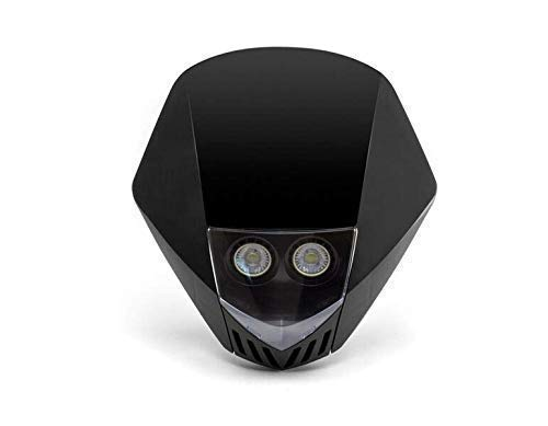 Schwarz Frontscheinwerfer Motorrad - LED 12V 10W - Projekt Streetfighter Supermoto
