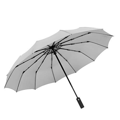 jieGREAT Umbrella  Large Umbrella Men/Women Three Folding Anti-UV Windproof Rain Umbrella (white)