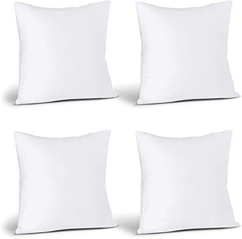 Utopia Bedding Cushion Inner Pads (Pack of 4) - Pillow Inserts 16' x 16' (40 x 40 cm) - Cotton Blend Cover - Hollowfibre Square Cushion Stuffer (Set of 4, White)
