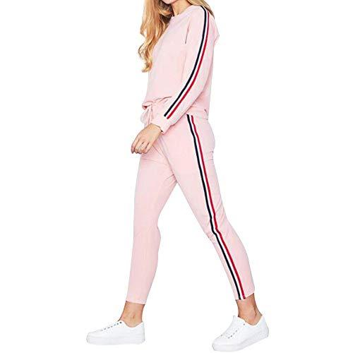 Tracksuit 2 piezas de camisetas de manga larga activas a rayas sólidas + pantalones largos, ropa de estar deportiva, conjunto deportivo pantalones cortos, blusa ajustada