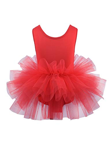 Toddler Girls Camisole Dance Tutu Leotard with Fluffy 4-Layers Ballet Dress for Dance, Gymnastics and Ballet Red 2T
