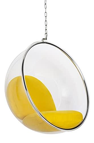 Silla colgante Bubble con cojín amarillo – cuerpo acrílico, cojín de lana