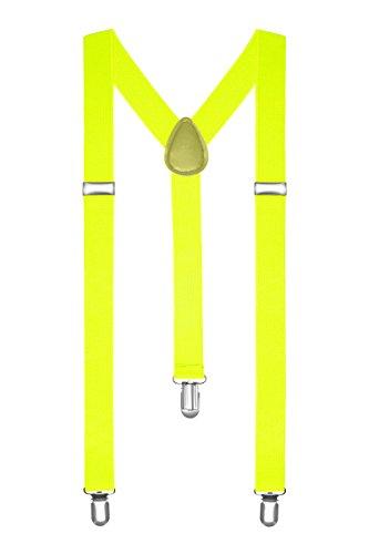 Autiga® Hosenträger Herren Damen Hosen Träger Y Form Style Clips Schmal Neon Bunt Farbig neongelb