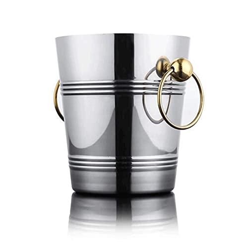 Práctico y Seguro Enfriador de champán de Metal Doble de Acero Inoxidable, Cubo de Hielo Aislado Cubo de Hielo de Paredes con Pinzas, Adecuado para Fiestas, Acampar al Aire Libre (3 / 5L) Cubo de hi