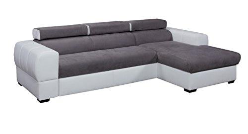 Relaxima Trésor Canapé d'Angle Convertible Droit avec Têtière Amovible Bois Blanc/Gris 266 x 160 x 90 cm