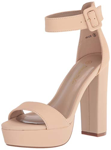 DREAM PAIRS Women's Hi-Lo Nude Nubuck High Heel Platform Pump Sandals - 5 M US